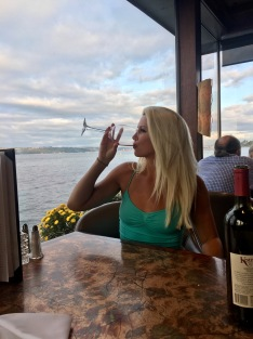 Finishing my wine (always) in Tacoma.
